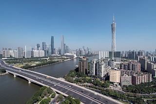 Lagerhaus der Skyline von Guangzhou