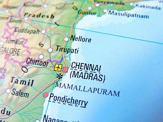Chennai en el mapa (Madras)