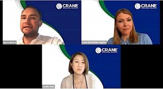 Três pessoas, um homem e duas mulheres em uma chamada de webinar