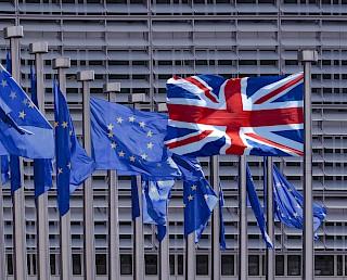 Bandiere del Regno Unito e dell'UE battenti