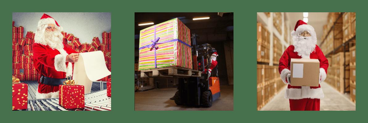 Santa im Lagerhaus