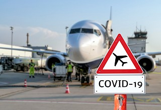 Aircraft with a COVID-19 sign