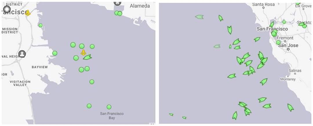 Kartenansicht der in der Bucht von San Francisco vor Anker liegenden Schiffe